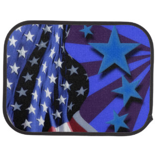 U.S.A. America Flag and Blue Stars Car Mat