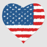 U.S.A. Bandera Pegatina En Forma De Corazón