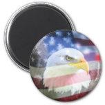 U.S.A. Eagle y bandera Imanes