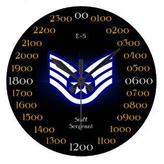 U.S.A.F./sargento del Estado Mayor E-5 Reloj Redondo Grande