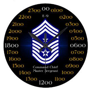 U.S.A.F./sargento mayor E-9 del comando principal Reloj Redondo Grande