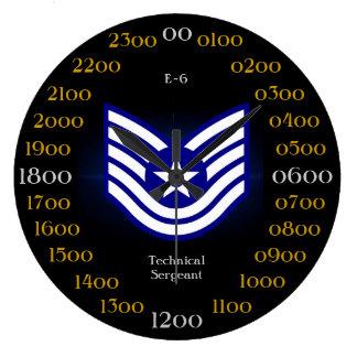 U.S.A.F./sargento técnico E-6 Reloj Redondo Grande