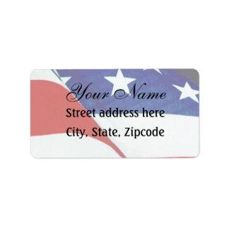 U.S.A. Flag Address Label