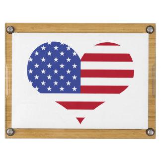 U.S.A. Flag-Heart Shape Rectangular Cheeseboard