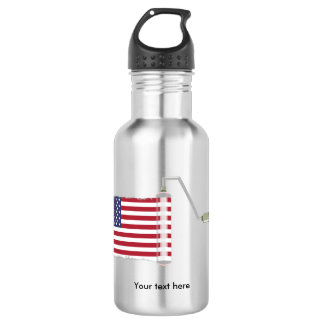 U.S.A. Flag Paint Roller Water Bottle