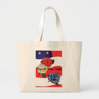 "U.S.A. Flag Roses Red White & Blue""Thank You Vets"" Jumbo Tote Bag"