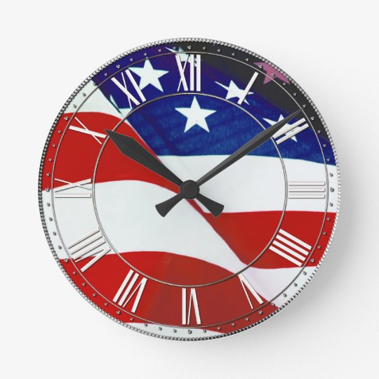 U.S.A. Flag Round Clock