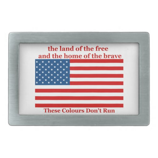 U S A FLAG the land of the free Belt Buckle