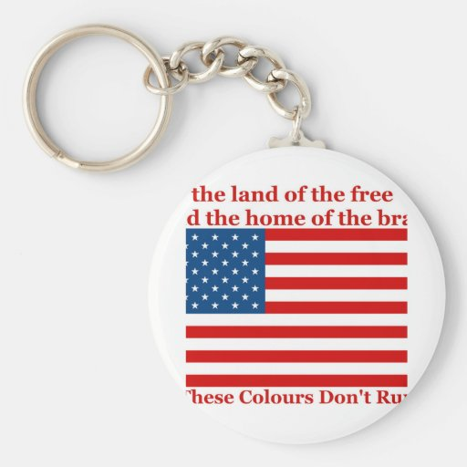 U S A FLAG the land of the free Keychain
