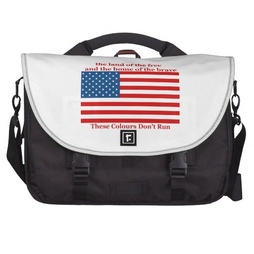 U S A FLAG the land of the free Laptop Messenger Bag