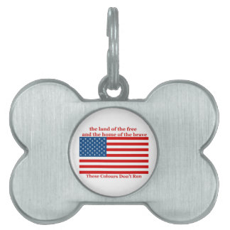 U S A FLAG the land of the free Pet ID Tag