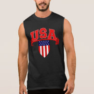 U.S.A Gym Fitness Workout and Bodybuilding Sleeveless Tees