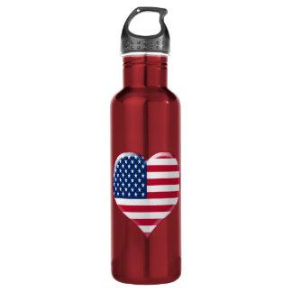 U.S.A. Heart Charm Stainless Steel Water Bottle