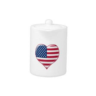 U.S.A. Heart Charm Teapot