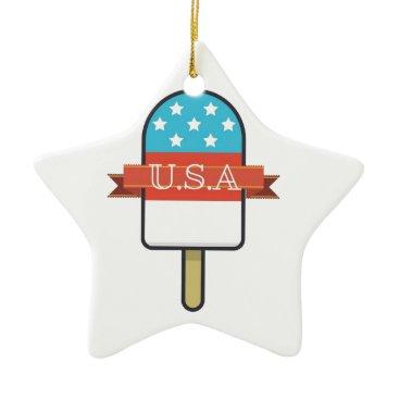 USA Themed U.S.A. Ice Lolly Ceramic Ornament
