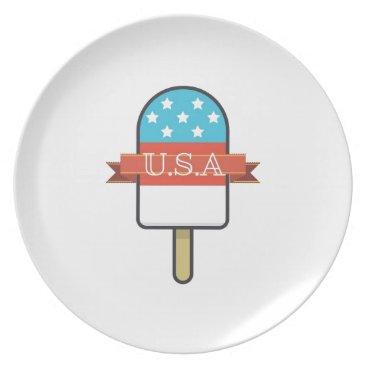 USA Themed U.S.A. Ice Lolly Dinner Plate