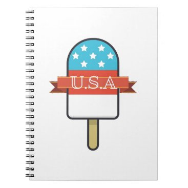 USA Themed U.S.A. Ice Lolly Spiral Notebook