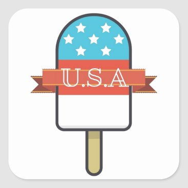 USA Themed U.S.A. Ice Lolly Square Sticker