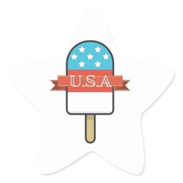 USA Themed U.S.A. Ice Lolly Star Sticker