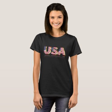 USA Themed U S A in US Flag Lettering T-Shirt