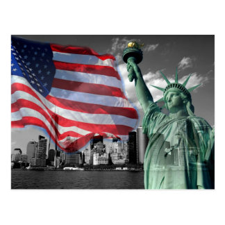 U.S.A.: Lady Liberty, American Flag, NYC Postcard
