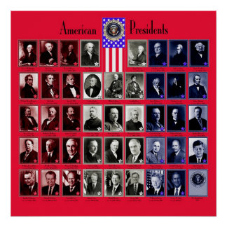 U S A PRESIDENTES RED C 563 POSTER