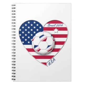 """U.S.A."" Soccer Team Fútbol de Estados Unidos 2014 Libros De Apuntes Con Espiral"