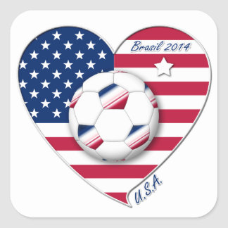 """""""U.S.A."""" Soccer Team Soccer of the United States 2 Square Sticker"""