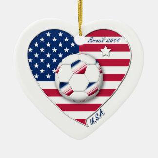 """U.S.A."" Soccer Team. Soccer of the United States Ceramic Ornament"