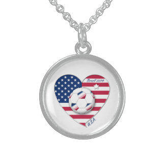 """""""U.S.A."""" Soccer Team. Soccer of the United States Sterling Silver Necklaces"""