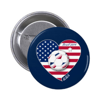 U.S.A. Soccer Team.  Soccer the United States 2014 Buttons