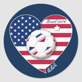 U.S.A. Soccer Team.  Soccer the United States 2014 Classic Round Sticker
