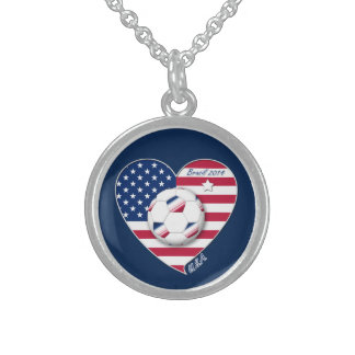 U.S.A. Soccer Team.  Soccer the United States 2014 Sterling Silver Necklaces