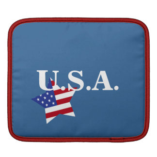 U.S.A.-Star shaped flag+initials iPad Sleeve