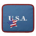 U.S.A.-Star shaped flag+initials Sleeve For iPads