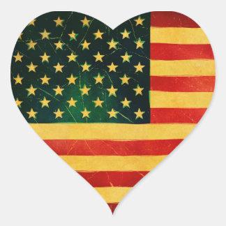 U.S.A. Vintage Style Heart Shaped Flag Stickers