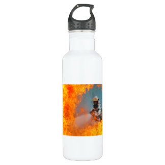 U.S. Air Force Firefighter Sprays Water at Fire 24oz Water Bottle