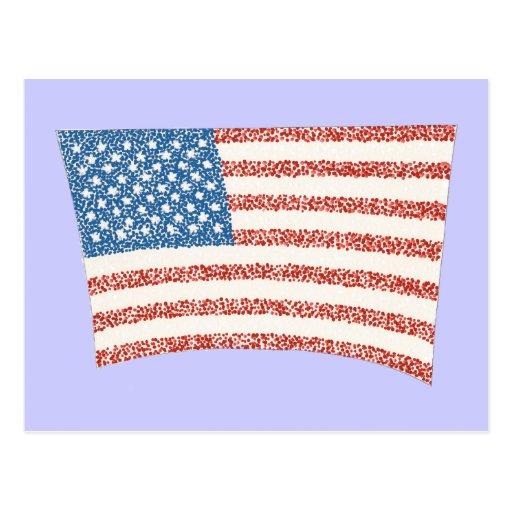 U S American Flag in pointillism, on postcards