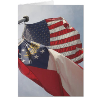 U.S. and Georgia Flags on Courthouse Square Greeting Card