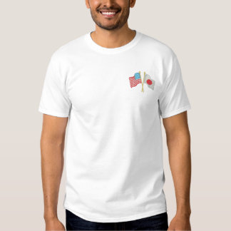 U S and Japan Embroidered T-Shirt