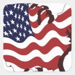 U.S. Bandera Colcomanias Cuadradas Personalizadas