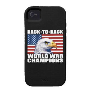 U.S. Bandera y campeones de la guerra mundial de Case-Mate iPhone 4 Funda