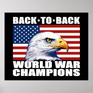 U.S. Bandera y campeones de la guerra mundial de Poster