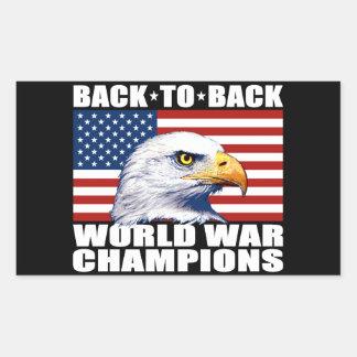 U.S. Bandera y campeones de la guerra mundial de Pegatina Rectangular