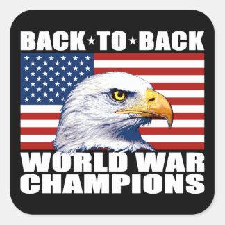 U.S. Bandera y campeones de la guerra mundial de Pegatina Cuadrada