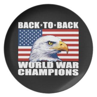 U.S. Bandera y campeones de la guerra mundial de Plato