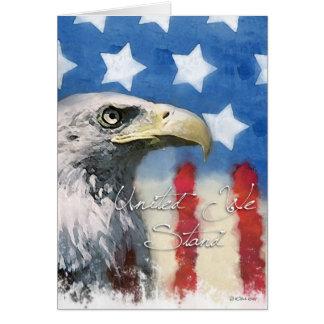 U.S. Bandera y Eagle Pariotic - unido nos colocamo Tarjeta De Felicitación