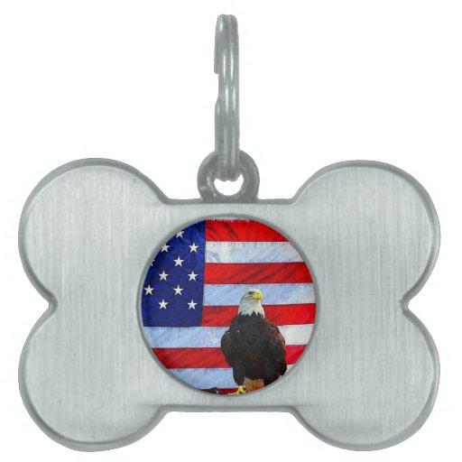 U.S. Bandera y Eagle Placas De Nombre De Mascota