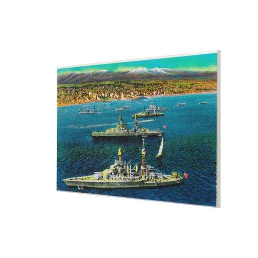 U.S. Battleships Anchored at Long Beach Canvas Print