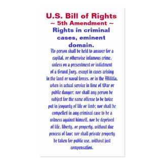U S Bill of Rights Fifth 5th Amendment Business Card Templates
